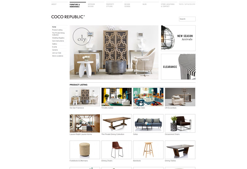 Coco Republic Website Design